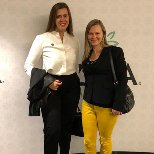 Elena with Aline Banon at the Business Excellence Summit in Frankfurt